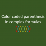 color coded parentheses in excel