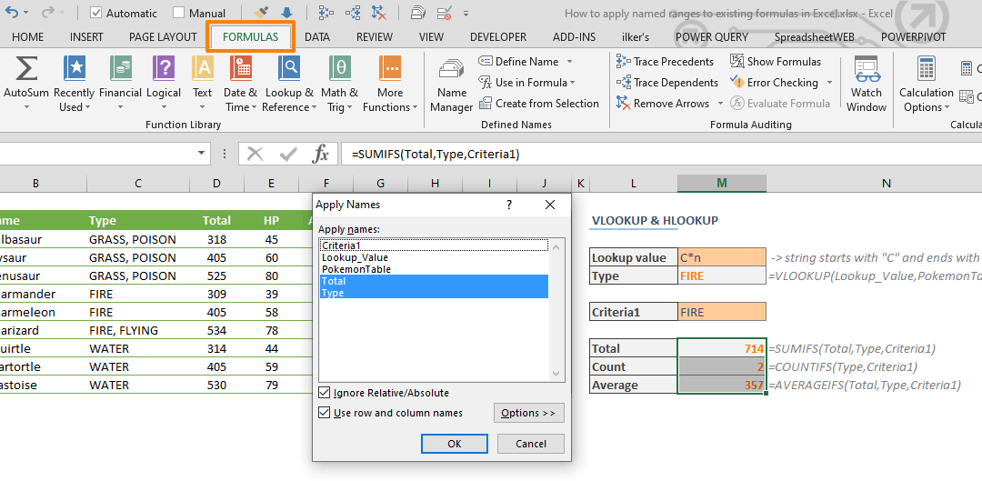 How to apply named ranges to existing formulas in Excel