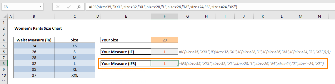 How to simplify Nested IF formulas - IFS