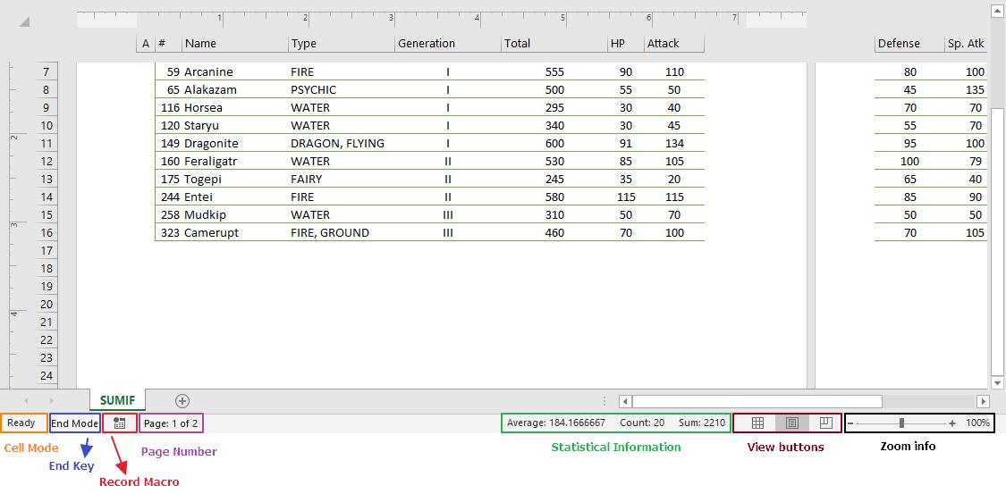 Excel status bar