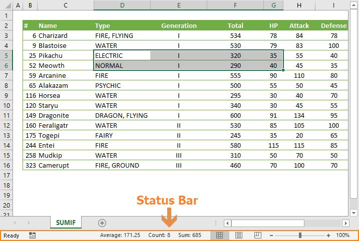 status bar excel