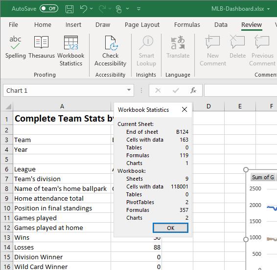 workbook statistics