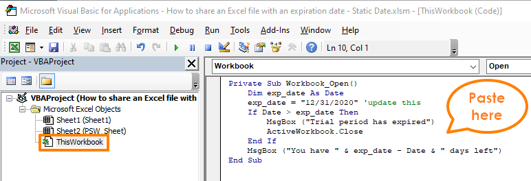 How to share an Excel file with an expiration date - Static Date