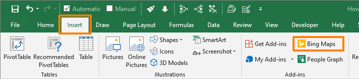 How to embed a Bing map in Excel - Ribbon