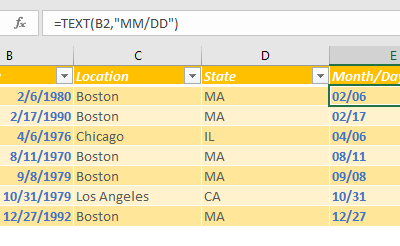 How to sort birthdays in Excel