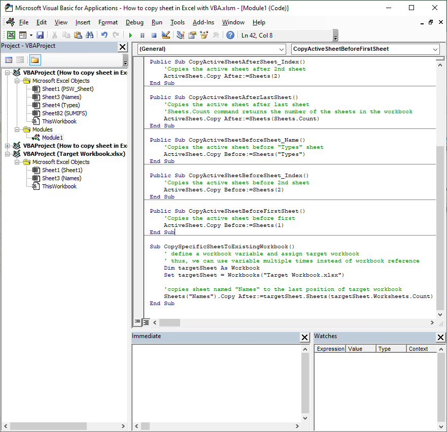 How to copy sheet in Excel with VBA