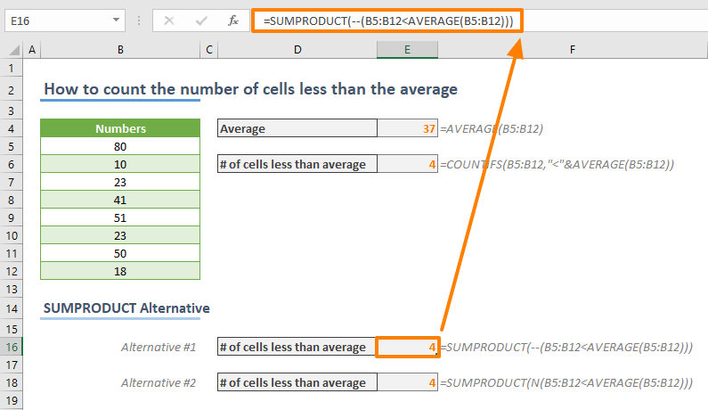 How to count the number of cells less than the average in Excel - SUMPRODUCT