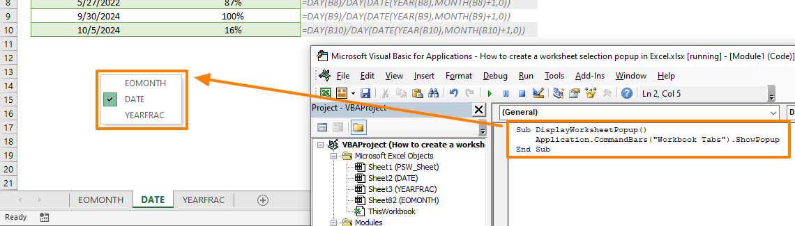 How to create a worksheet selection popup in Excel