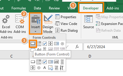 How to create a worksheet selection popup in Excel - Create a button