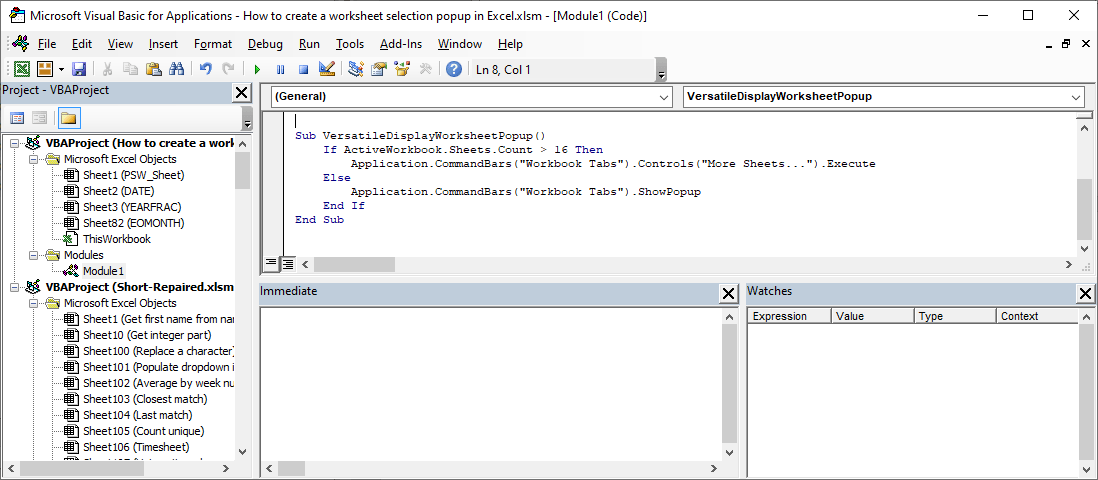 How to create a worksheet selection popup in Excel - Versatile code