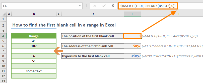 How to find the first blank cell in a range in Excel 01