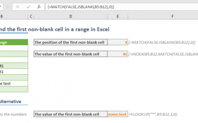 How to find the first non-blank cell in a range in Excel