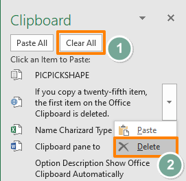How to use Clipboard in Excel - Removing items