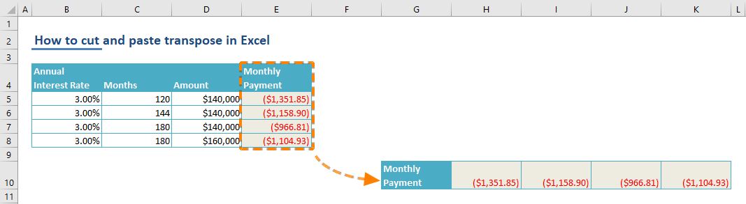 How to cut and paste transpose in Excel