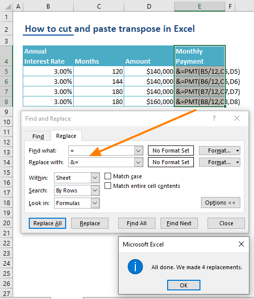 How to cut and paste transpose in Excel - Find & Replace