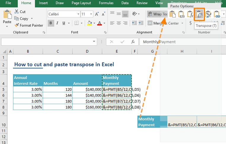 How to cut and paste transpose in Excel - Context Menu