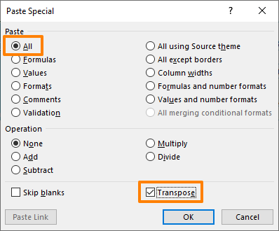 How to cut and paste transpose in Excel - Paste Special