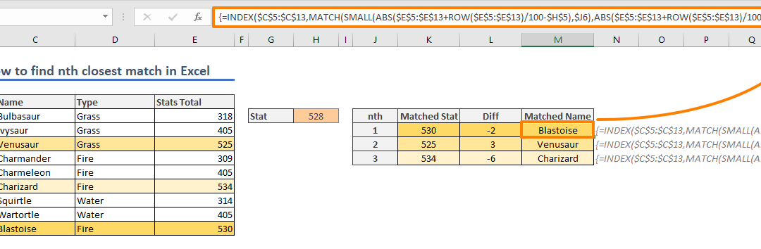 How to find nth closest match in Excel