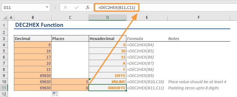 Excel DEC2HEX Function - Places