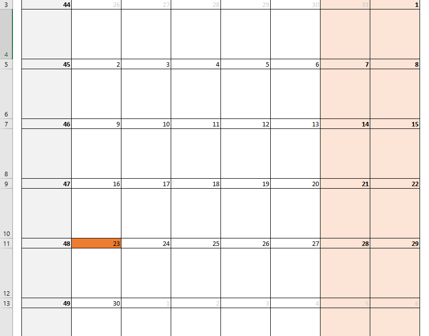 How to create a dynamically changing calendar in Excel