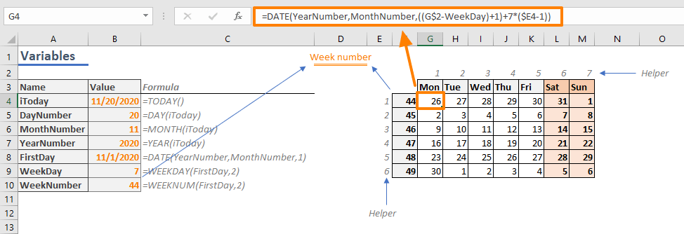 How to create a calendar in Excel - Days