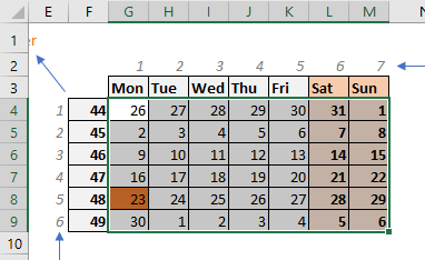 calendar in Excel