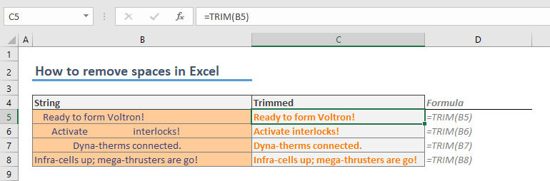How to remove spaces in Excel