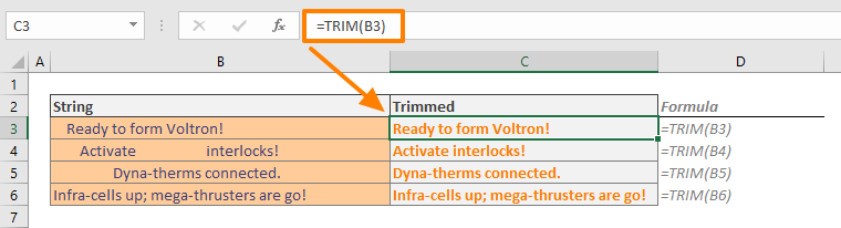 How to remove spaces in Excel 01