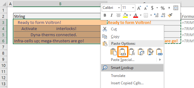 How to remove spaces in Excel 02