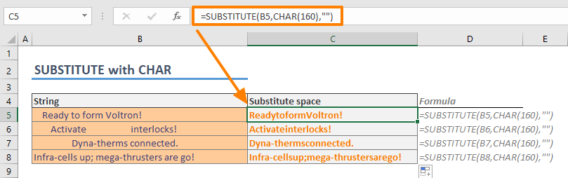 How to remove spaces in Excel 05