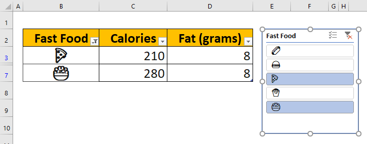 How to use emojis in Excel - Slicer
