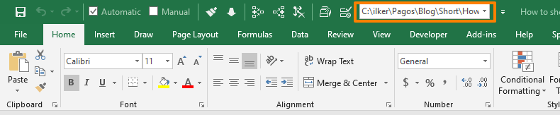 Document Location in Quick Access Toolbar