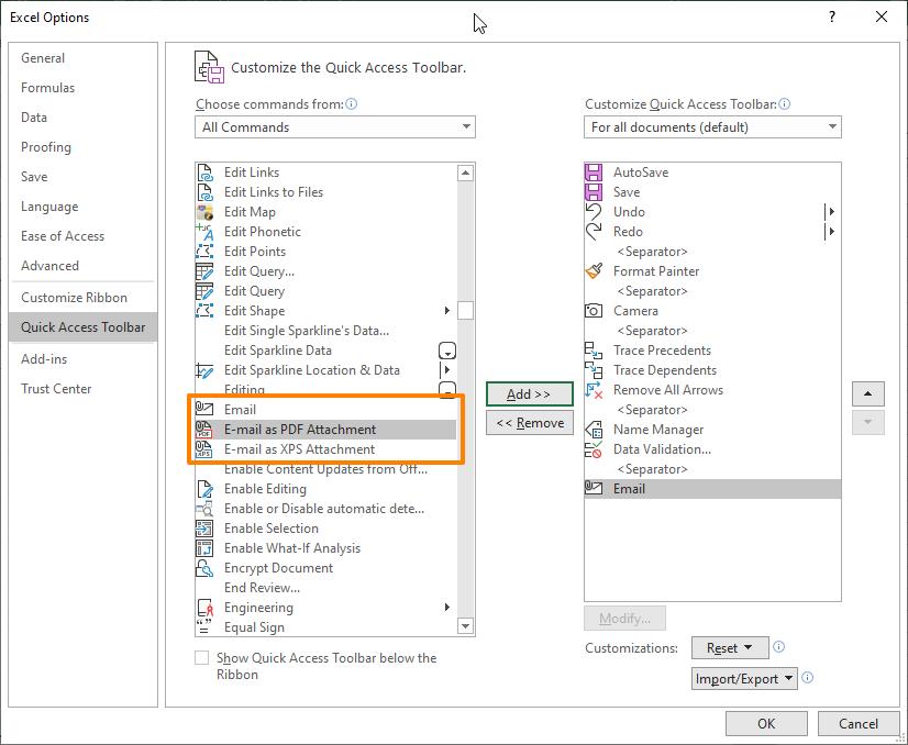 Hidden Commands in Excel 12