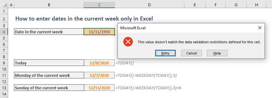 How to enter dates only in the current week in Excel
