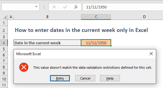 How to enter dates in the current week only in Excel 02
