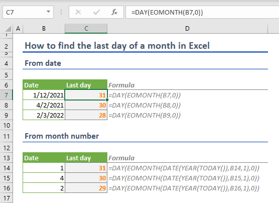 How to find the last day of a month in Excel