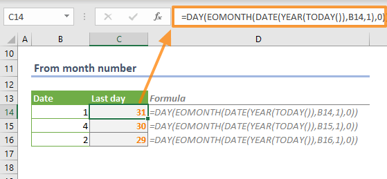 How to find the last day of a month in Excel 02