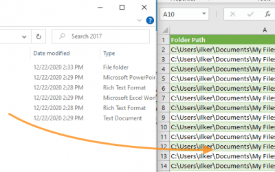 How to get a list of file names in Excel