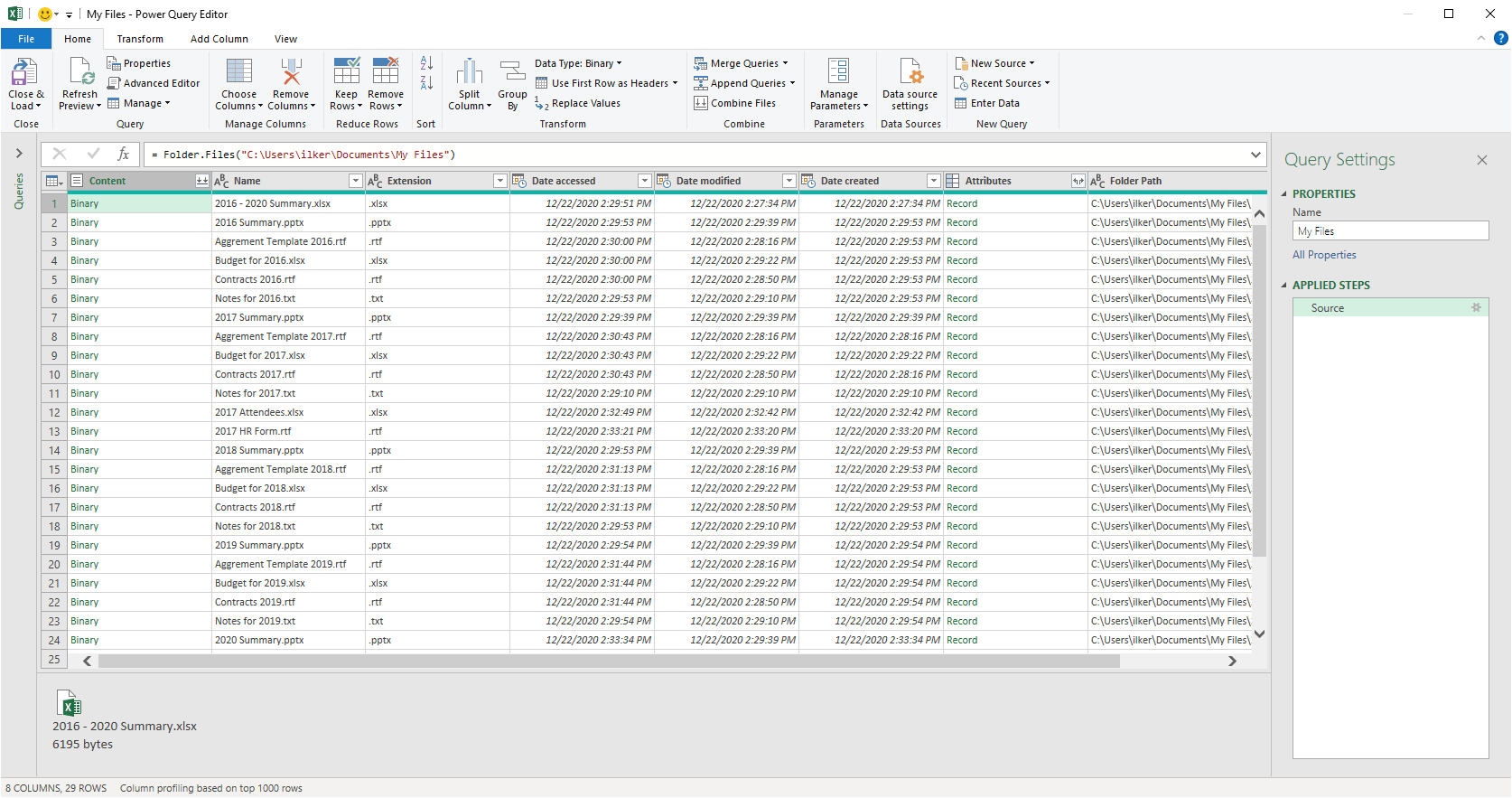 How to get a list of file names in Excel 04