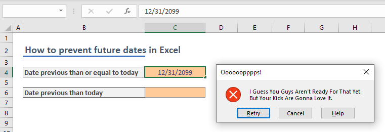 How to prevent future dates from being entered in Excel