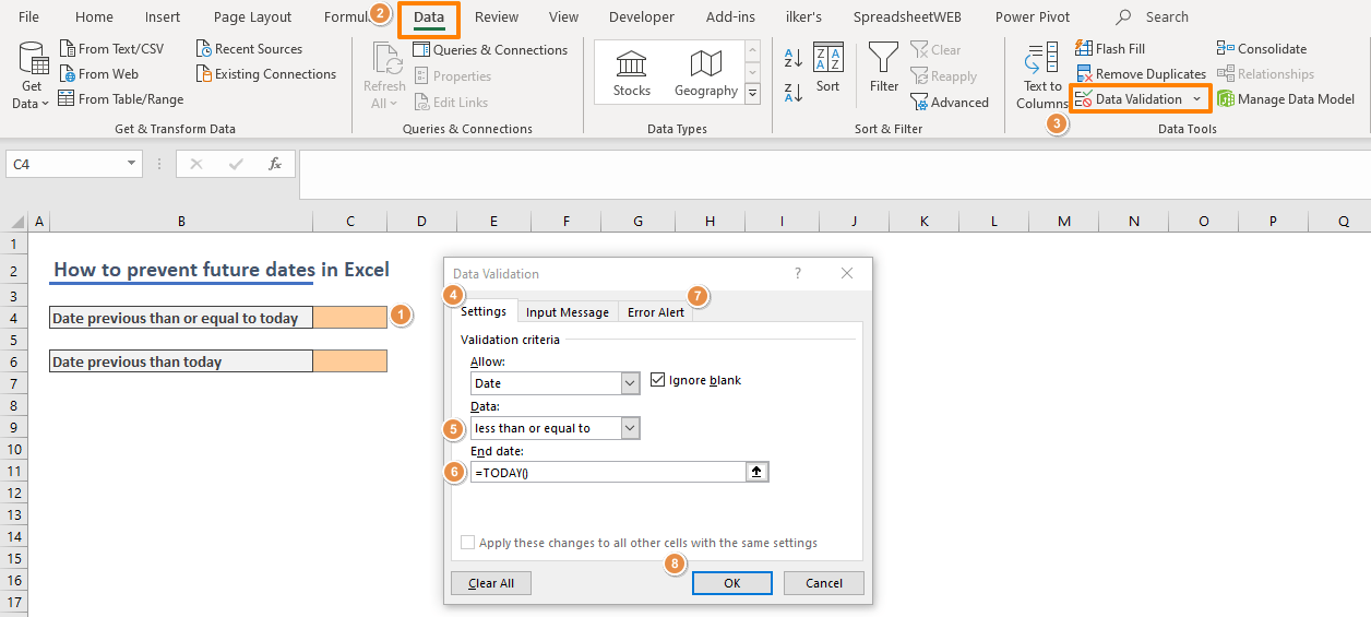 How to prevent future dates in Excel 01