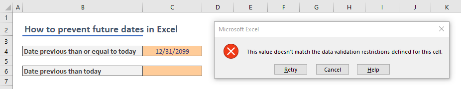 How to prevent future dates in Excel 02