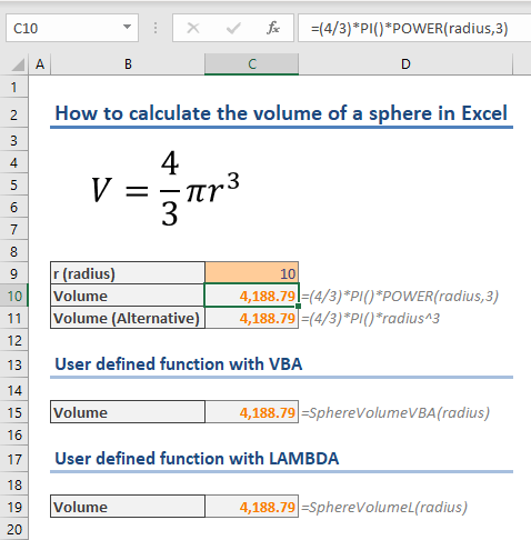 How to calculate the volume of a sphere in Excel