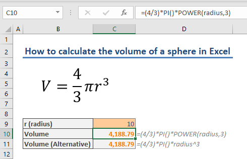 How to calculate the volume of a sphere in Excel 02