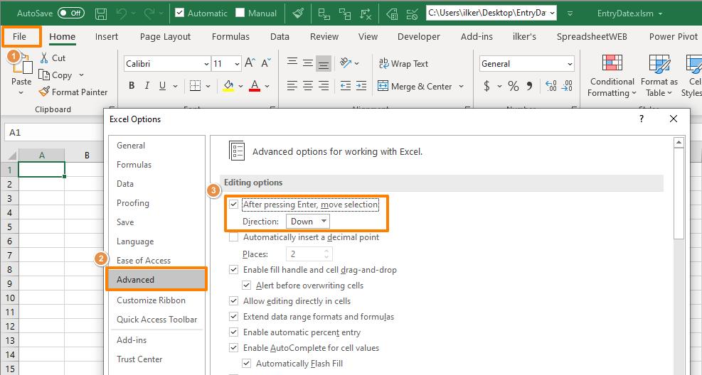 How to change pressing Enter behavior in Excel 01