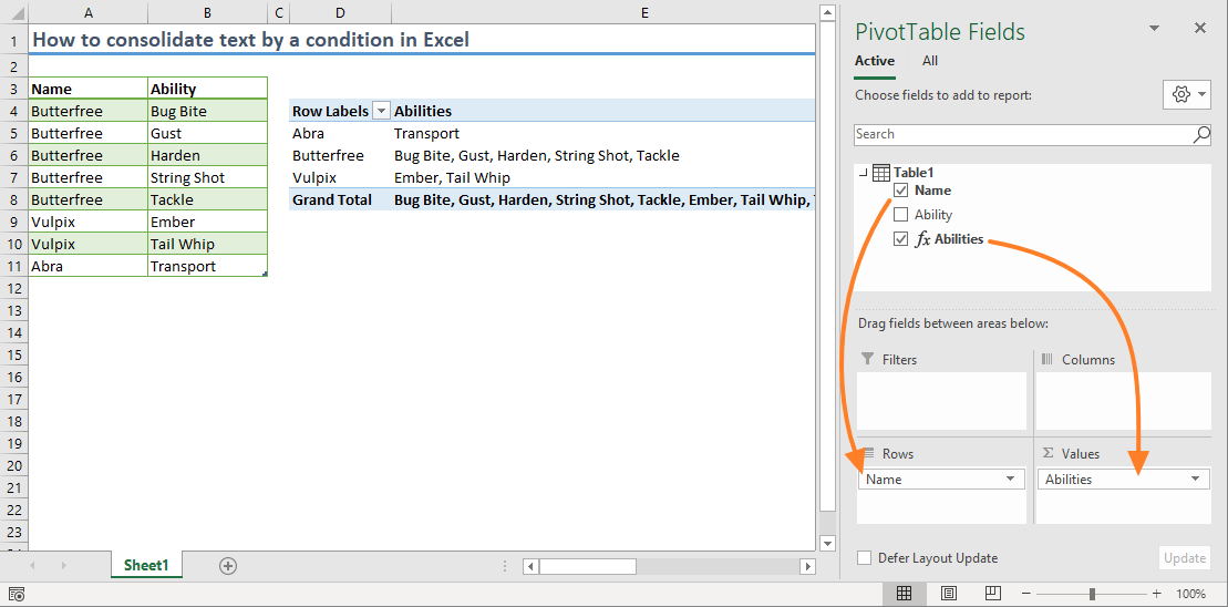 How to consolidate text with Pivot Table in Excel 05