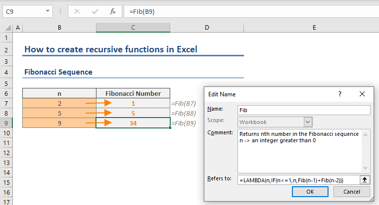 How to create recursive functions in Excel - Fibonacci