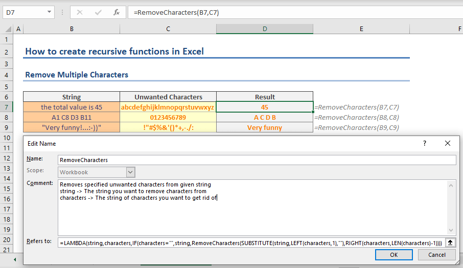 How to create recursive functions in Excel - Remove Characters