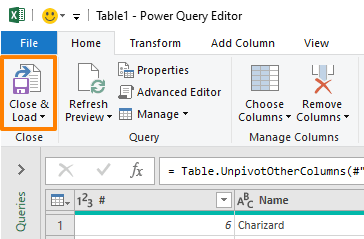 How to unpivot data in Excel with Power Query - Close and Load