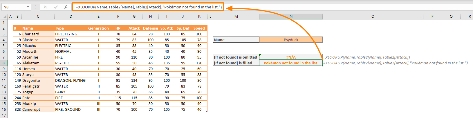 XLOOKUP Function - Not Found